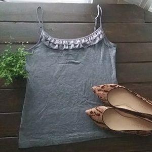 LOFT Grey Knit Ruffle Camisole Tank Size Small
